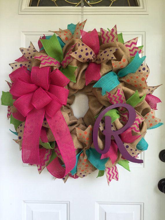 Burlap wreath Summer wreath Spring and Summer wreath