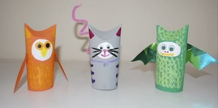 Hand puppet.  Tape colored paper to toilet paper tubes.  Make face by thinking about how to show character/personality traits on their paper tubes:  happy, sad, angry. Embellish by using what you have on hand.