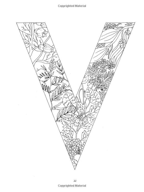 Floral Alphabet Coloring Dover