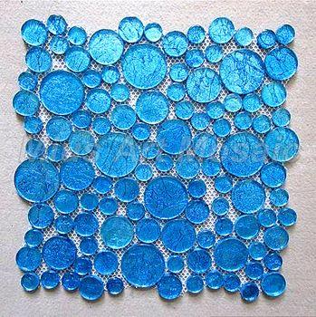 [Mius Art Mosaic] Glossy  sparkle blue color round  glass mosaic tile for kitchen backsplash MC013
