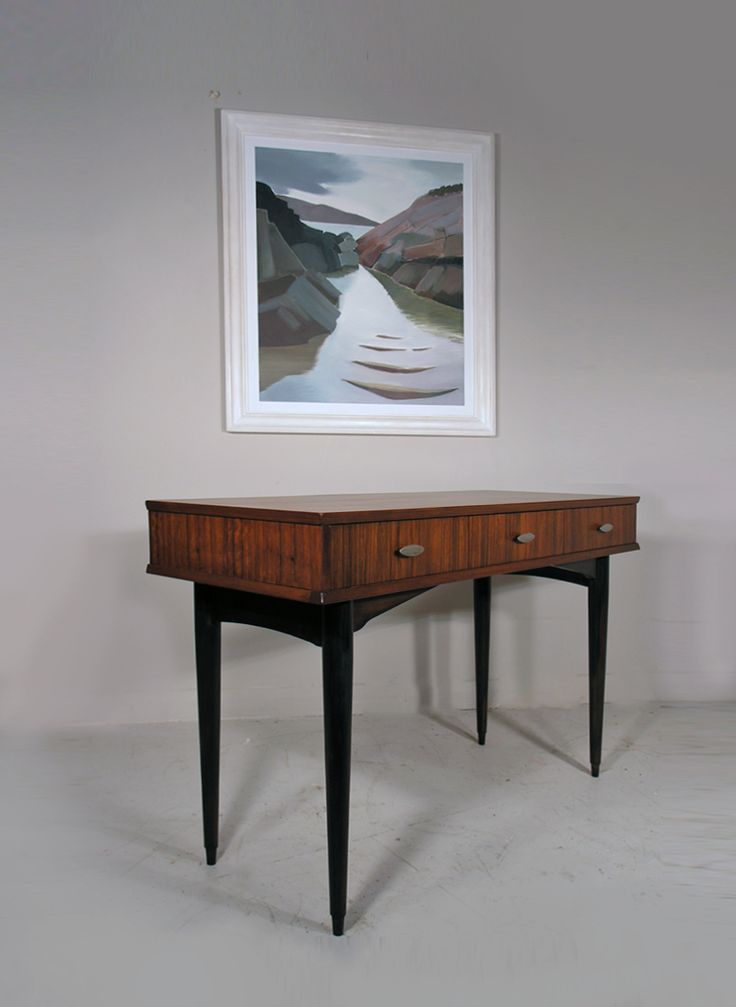 Herbert Gibbs mid century rosewood console table - painting 'Ardtoe' by Lindsey Hambleton