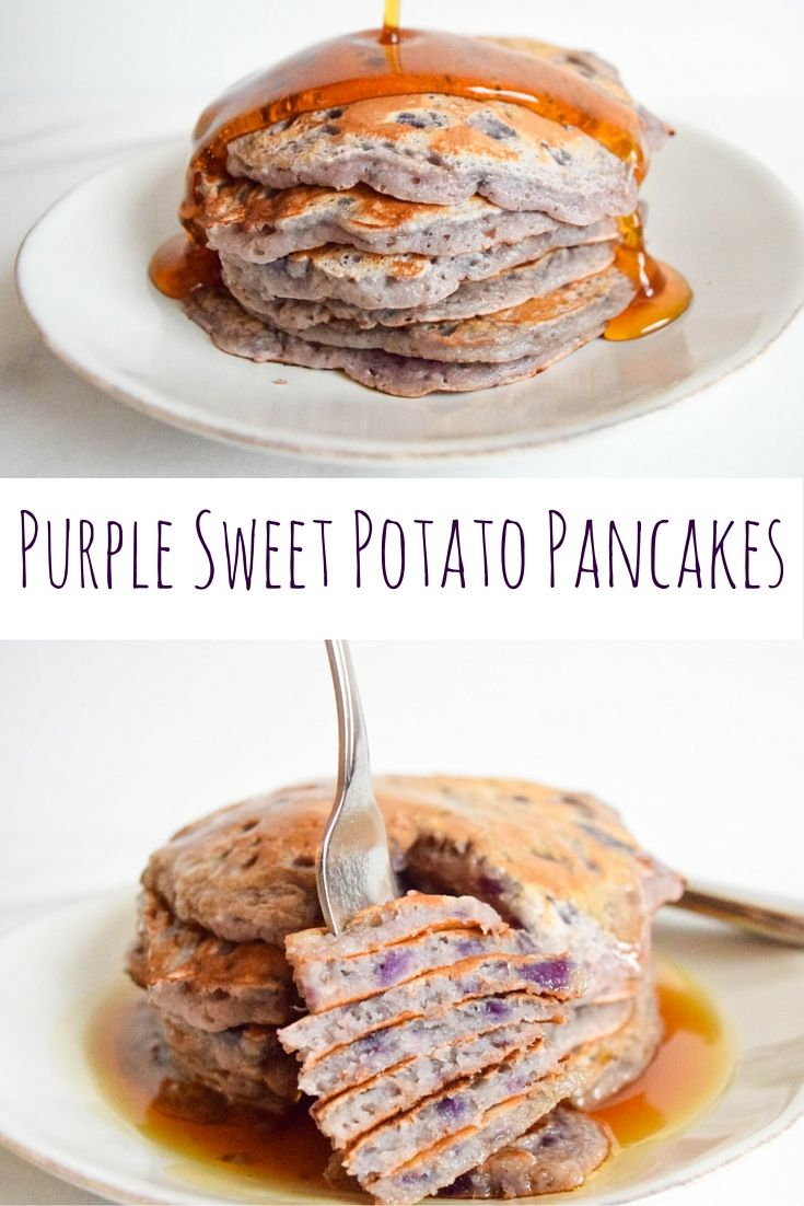 Purple Sweet Potato Pancakes —The prettiest brunch food