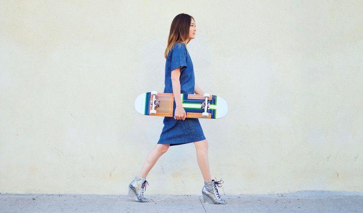 Skateboard-apparel designer Jayne Min custom-designed Céline Morrocan