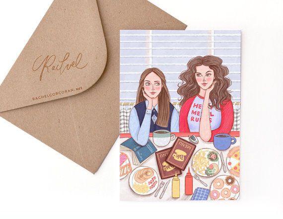 Gilmore Girls Card door Rachel Corcoran - Rory, Lorelai - beste vrienden, gelukkige verjaardag-kaart, Moederdag, zuster Gift - afbeelding afdrukken