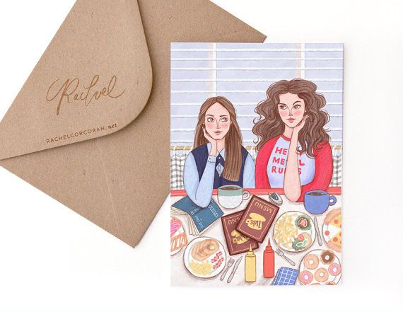Gilmore Girls Card by Rachel Corcoran - Rory, Lorelai - Best Friends, Happy Birthday Card, Mothers Day, Sister Gift - Original Illustration