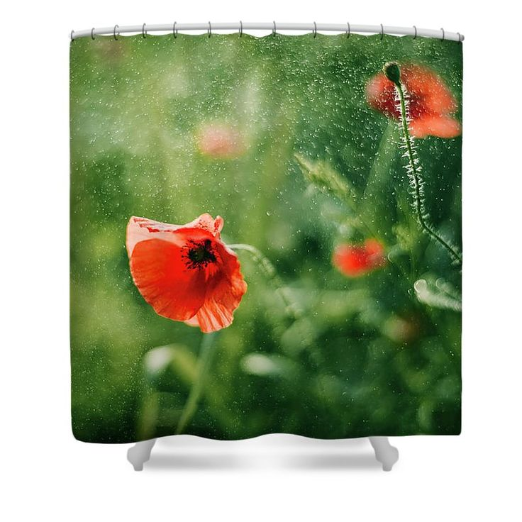 Shower Curtain featuring the photograph Poppy Sparks by Oksana Ariskina. A red poppy flower in a sparkling bokeh green sunny abstract background. Available as mugs, posters, greeting cards, phone cases, throw pillows, framed fine art prints, metal, acrylic or canvas prints, shower curtains, duvet covers with my fine art photography online: www.oksana-ariskina.pixels.com #OksanaAriskina
