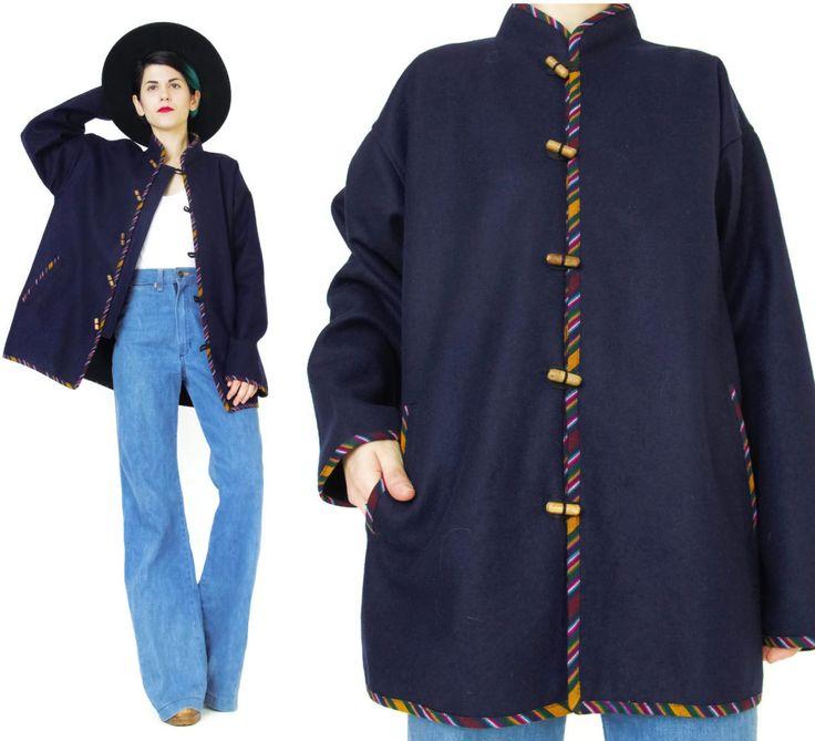 New to honeymoonmuse on Etsy: Vintage Ethnic Jacket Navy Wool Jacket Hippie Boho Jacket Mandarin Collar Guatemalan Coat Folk Southwestern Stripes Toggle Buttons (M/L) (70.00 CAD)