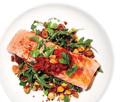 Salmon, Red Quinoa, and Arugula Salad - if you're in the 21-day phase, you could skip the wine...