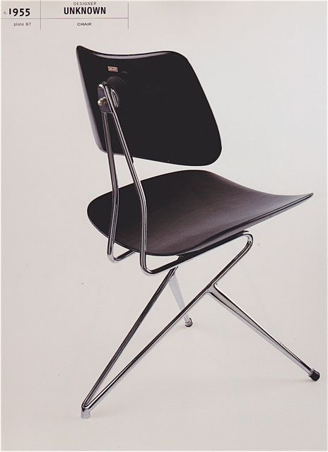 Gio Ponti; Chromed Metal and Painted Wood Chair, 1955.