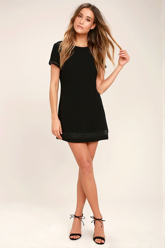 Lulus Exclusive! The Perfect Time Black Shift Dress is always a great idea! Gauzy woven rayon shapes a rounded neckline, short sleeves, and a darted, shift silhouette. Pierced embroidery accents the sleeves and hem. Hidden back zipper/clasp.