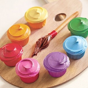 Colorful cupcakes perfect for an art party