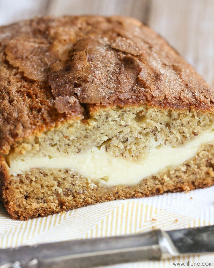 Cream Cheese filled Banana Bread recipe - no yeast involved and SO delicious!! Oh yeah, and it's topped with cinnamon and sugar!