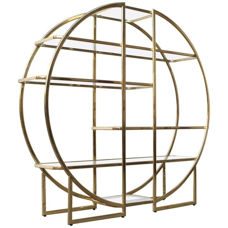 Circular Brass Etagere with Glass Display Shelves 1