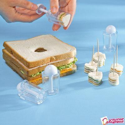 4 forme de taiat sandvisuri mici-mici ca aperitiv