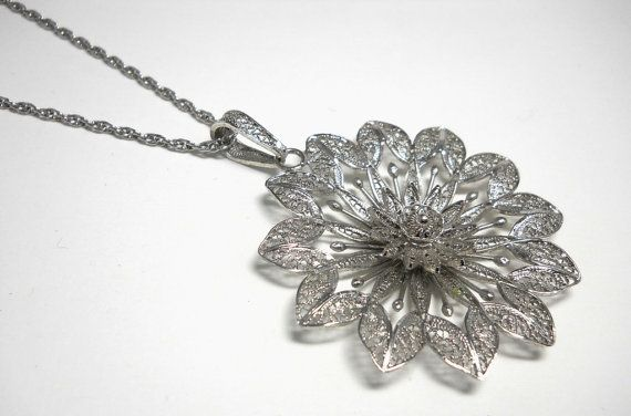 Vintage Sterling Silver Filigree Flower Necklace by Van Lou
