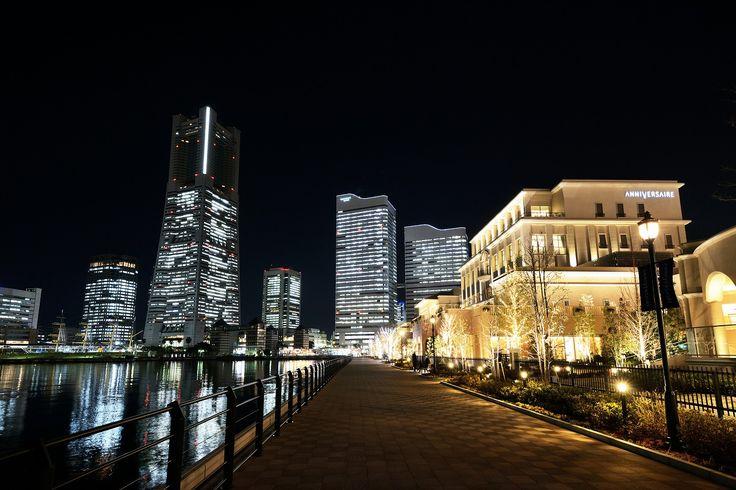 運河パークの遊歩道 夜景 みなとみらい 横浜
