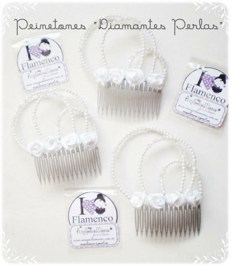 """Peinetones EXCLUSIVOS! una joya en nuestros peinados. Modelo """"Diamantes Perlas"""" diiviiisiiimo y femenino en blanco AmapolasMoras"""
