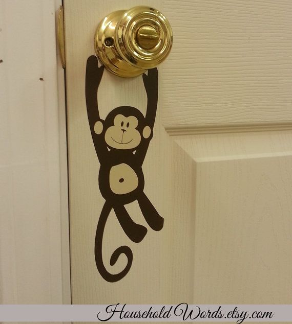 monkey door knob vinyl decal hanger door decals monkey decal monkey sticker kids bedroom door decor door sign jungle decals monkey. Interior Design Ideas. Home Design Ideas
