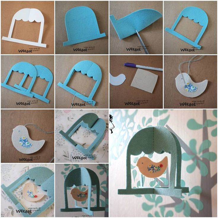 How to make Cute Felt Bird Mobile step by step DIY tutorial instructions, How to, how to do, diy instructions, crafts, do it yourself, diy website, art project ideas