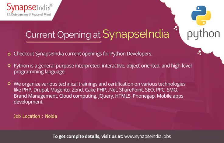 Checkout SynapseIndia current openings for Python Developers at:  https://synapseindiacurrentopeningsnoida.wordpress.com/2017/06/06/synapseindia-current-openings-details-released-for-python-developer-profile/