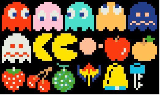 Pacman cross stitch and needlepoint patterns http://www.spritestitch.com/pacman-mini-cross-stitch-and-needlepoint-patterns/