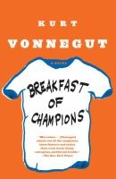 """Breakfast of champions :  or, Goodbye blue Monday!  by Kurt Vonnegut ; with drawings by the author. """"Breakfast of Champions traces the cross-country journey of the long-suffering sf writer Kilgore Trout, who, to his amazement, is invited to attend an arts festival in a gritty Midwestern town. As Kilgore's picaresque adventure unfolds, Vonnegut drops in barbs on such contemporary American maladies as war, consumerism, racism, and pollution."""" Library Journal Review."""