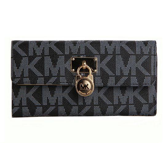 a59145b1f3c4ad Michael Kors Lock Logo Large Black Wallet   Michael Kors Value Spree ...