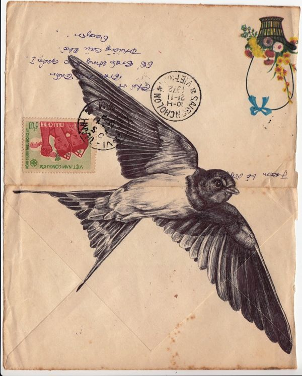 Bic biro drawing on a 1972 Vietnamese envelope. by mark powell, via Behance