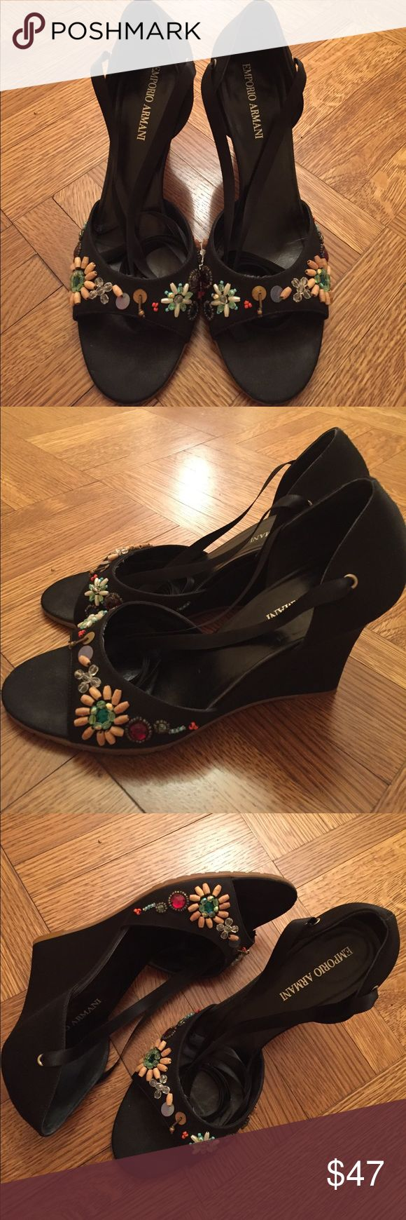 """Vintage Emporio Armani Black Wedge Sandals Vintage Emporio Armani black wedge sandals. Black satin, colorful beading. 3.5"""" wedge heels. Black ribbon ankle ties. In excellent condition. Size 8.5. Emporio Armani Shoes Wedges"""
