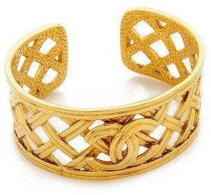 What Goes Around Comes Around Vintage Chanel Open Weave Cuff Bracelet