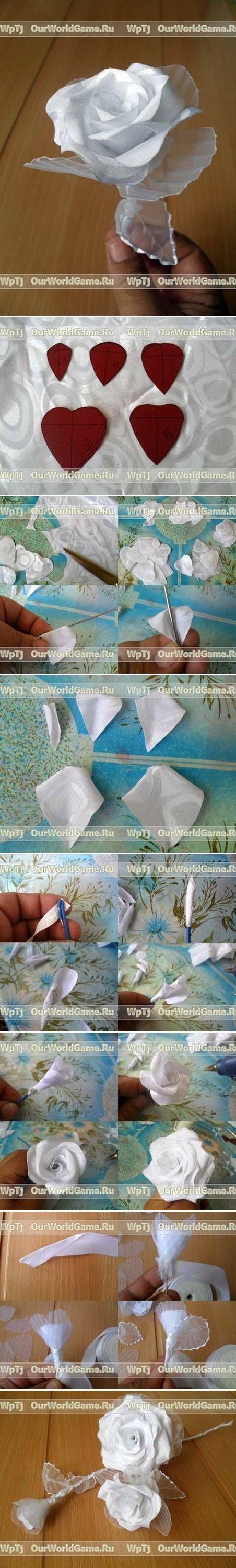 DIY Modular White Ribbon Rose