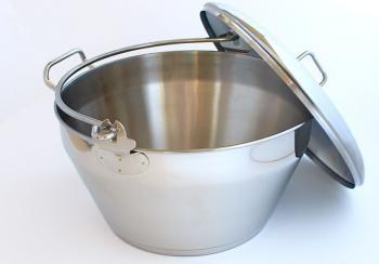 Garnek ze stali nierdzewnej do smażenia konfitur i dżemów z pokrywką (pojemność: 7,5 litra) - Hangel