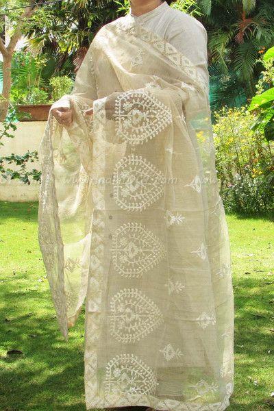 Elegant Beige Embroidered Dupatta