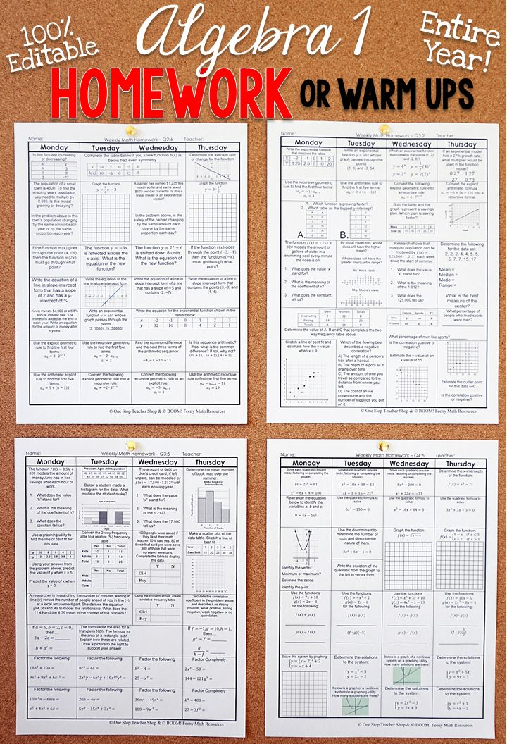 Algebra 1 homework or warm ups that provide a daily review for Algebra 1 math standards. This Algebra 1 spiral math review resource is fully EDITABLE and comes with answer keys and a pacing guide.