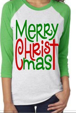 Merry Christmas shirt, Raglan Merry Christmas shirt, Women's Christmas Shirt, 3/4 Raglan sleeve Christmas Shirt by OnHeavenlyLane on Etsy https://www.etsy.com/listing/256369657/merry-christmas-shirt-raglan-merry