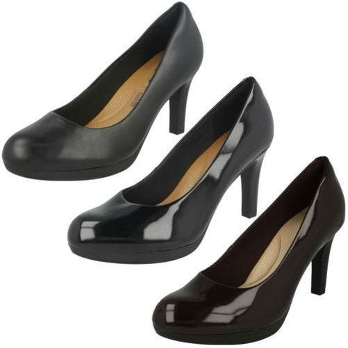 90e53d60131 Ladies Clarks Heeled Slip On Smart Leather/Patent Court Shoes Adriel ...