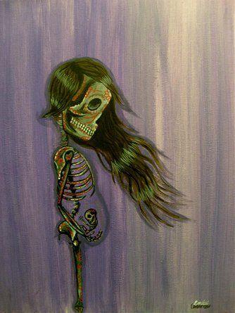 """Pregnant Sugar Skull, Day of the Dead Mother Art """"El Sol"""""""