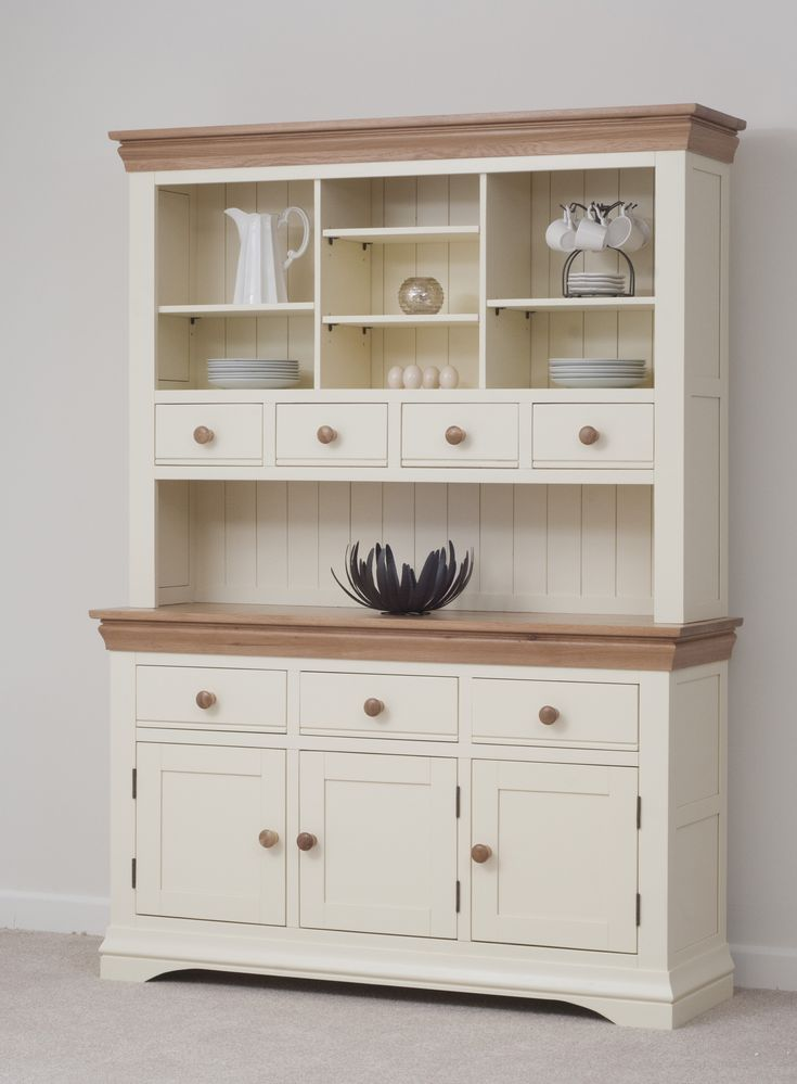 Country Cottage Painted Funiture Cabinet | Cream Large Dresser Oak Furniture Land www.oakfurnitureland.co.uk