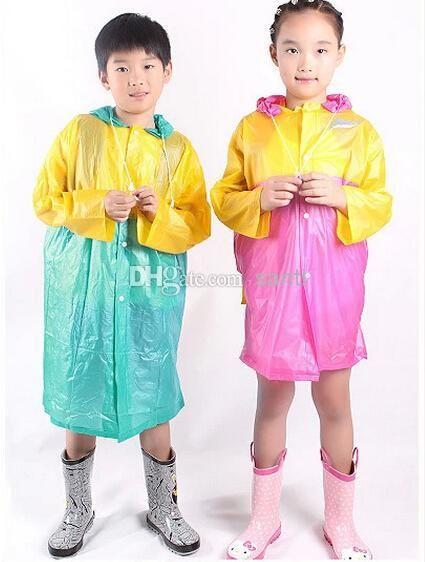 New Arrive PVC raincoat pearl students raincoat poncho take bag children conjoined raincoat