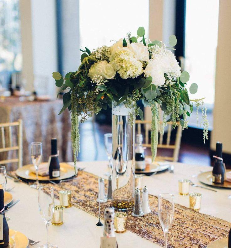 Enchanted Florist Las Vegas White And Green Centerpiece Wedding Tall Design Clic Elegance Pinterest