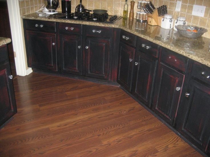 Kitchen Cabinets: Worn Out Black With Red Showing Through?