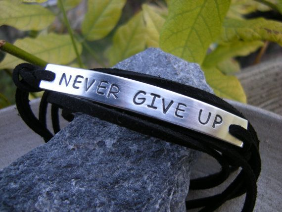 Motivational bracelet, Gift for Him, Never Give Up - W. Churchill, personalized stamped bracelet, faux suede cord via Etsy
