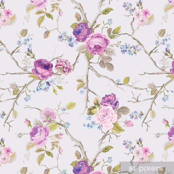 Tapeta Fioletowe Roze Kwiaty Tekstura Tlo Bez Szwu Kwiatowy Wzor W Wektorze Pixers Zyjemy By Zmieniac Spring Background Texture Background