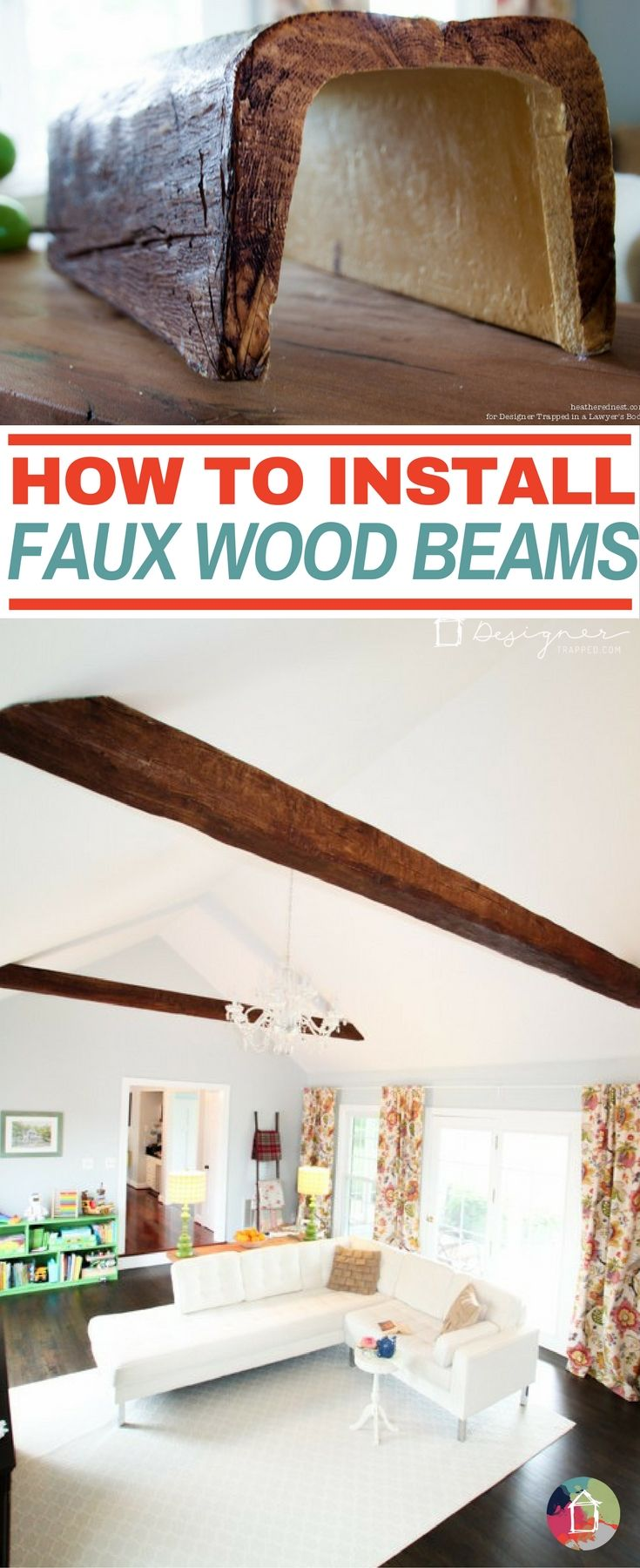 AH-MAZING! Learn how to install faux wood beams. They are affordable and STUNNING.