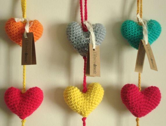 Colgantes de Corazones - Crochet - Tejidos de Punto - 397303