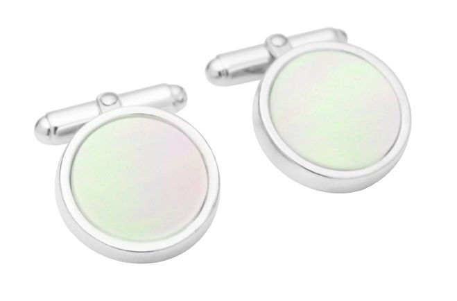 STG SILVER MOTHER OF PEARL CUFFLINKS