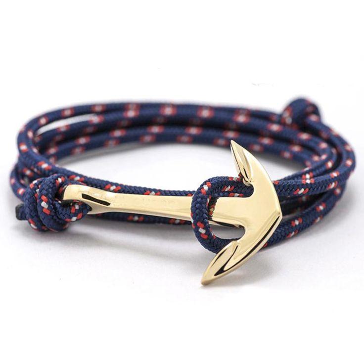Wallmart.win 2016 New Silver Alloy Anchor Bracelet Multilayer Leather Risers Bracelet for Women&Men Friendship Bracelets High Quality