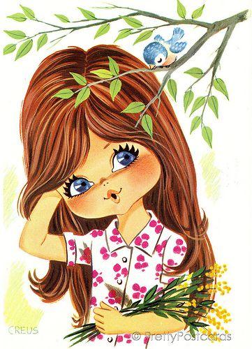 ❤️Sweet Big Eyed Girl ~ Vintage postcard from the 70s ~ Artist Creus