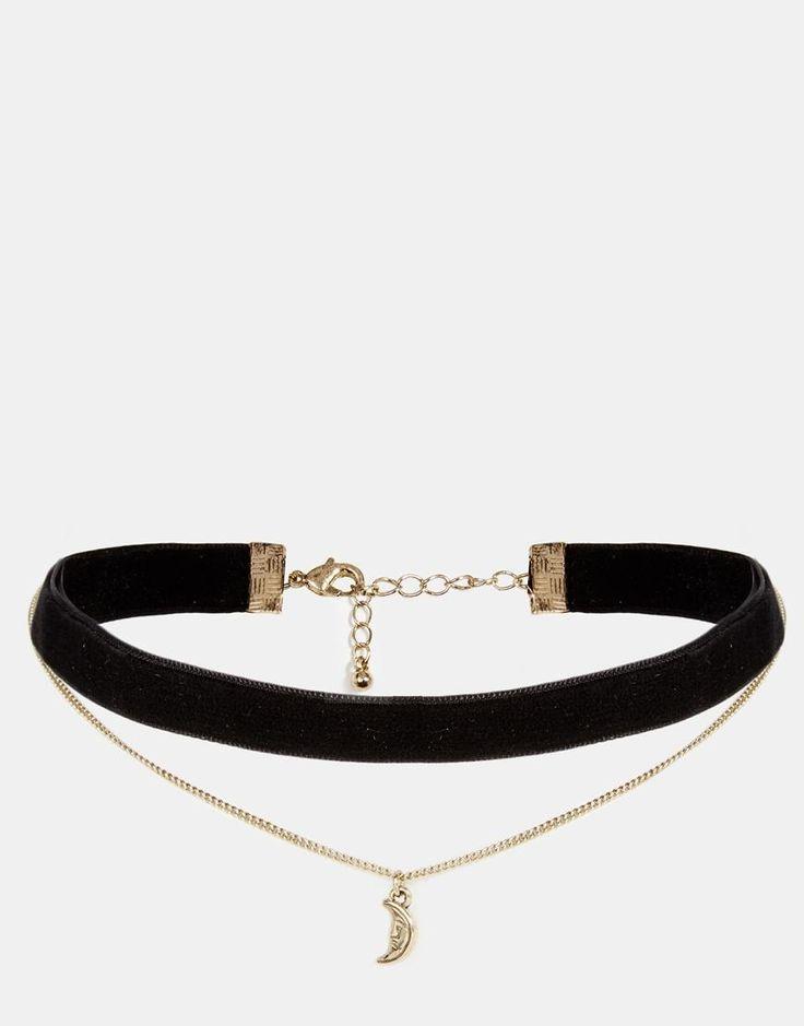 ASOS   ASOS Velvet and Charm Multirow Choker Necklace at ASOS
