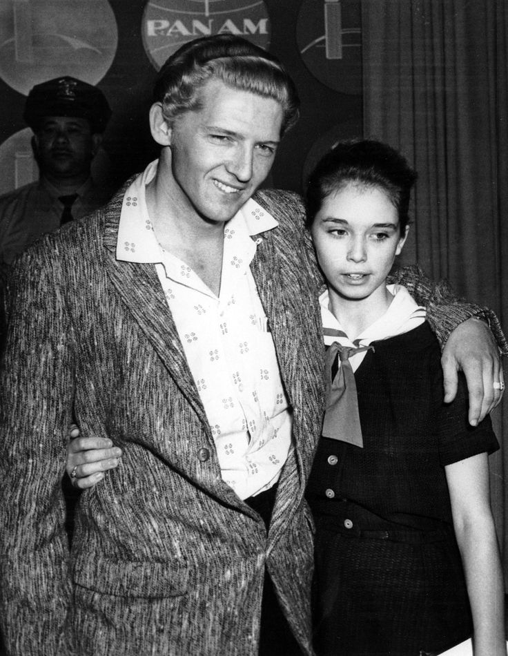 Jerry Lee Lewis, 22, and his cousin, Myra Brown, 13, whom he took as his third wife before divorcing his second.  (1958 AP Photo)